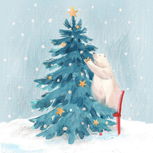 Beautiful Christmas Stock Illustration With Hand Drawn Watercolor Cute Polar Bear And Fir Tree.