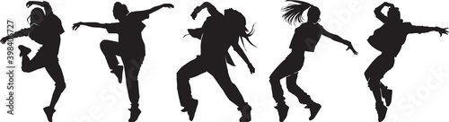 Canvas set of female urban dancers