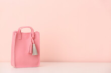 Stylish Bag On Color Background