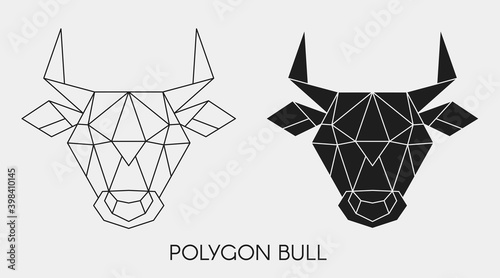 Fotografia, Obraz Abstract polygonal head bull. Geometric linear animal. Vector.