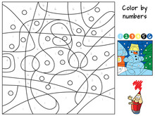 Snowman. Coloring Book. Educational Puzzle Game For Children. Cartoon Vector Illustration