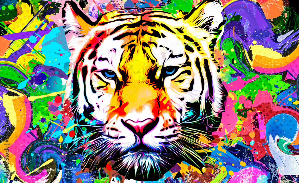 Fototapeta tiger head illustration with splash