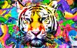 canvas print picture - tiger head illustration with splash