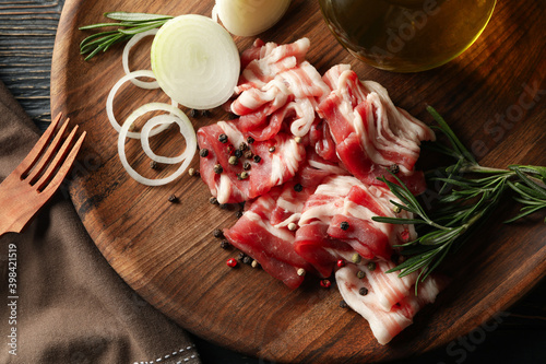 Fotografie, Obraz Concept of tasty snack with bacon on wooden background