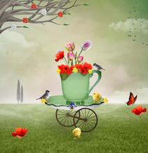 Surreal Countryside Illustration With A Cup Full Of Flowers In A Green Field