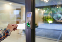Electronic Key And Finger Scan Access Control System To Lock And Unlock Doors.