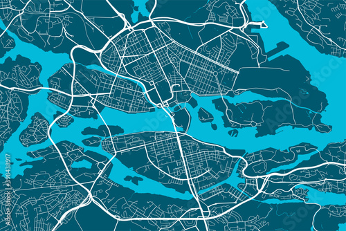 Photographie Detailed map of Stockholm city, linear print map