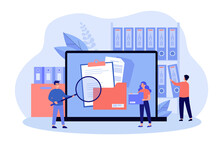 People Taking Documents From Shelves, Using Magnifying Glass And Searching Files In Electronic Database. Vector Illustration For Archive, Information Storage Concept