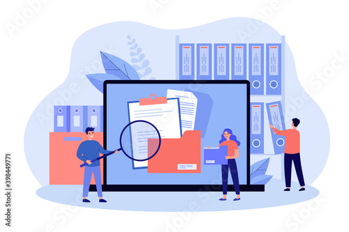 People taking documents from shelves, using magnifying glass and searching files in electronic database. Vector illustration for archive, information storage concept - fototapety na wymiar