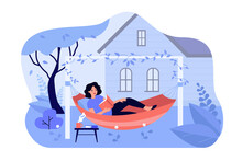 Happy Girl Relaxing In Backyard, Lying In Hammock And Reading Book. Vector Illustration For Leisure, Summer Vacation, Home Garden Concept