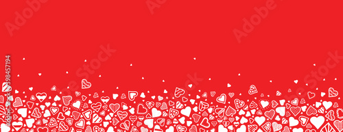Vector horizontal background with white hearts on red background. Modern hand drawn design for valentine day, mother's day or love concepts
