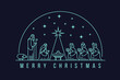 Merry christmas with white line Nativity of Jesus scene and Three wise men in the semicircle and star light vector design