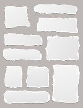 Set Of Torn White Note, Notebook Paper Pieces Stuck On Gray Vertical Background. Vector Illustration