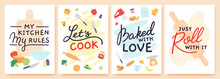 Cooking Poster. Kitchen Prints With Utensils, Ingredient And Inspirational Quote. Baked With Love. Food Preparation Lesson Banner Vector Set
