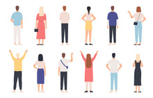 People From Behind. Adult Man And Woman Back View Standing Poses. Happy Person With Hands Up And Waving. Rear Human In Clothes Vector Set