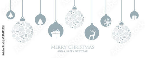 Fotografiet merry christmas card with hanging ball decoratoin vector illustration EPS10