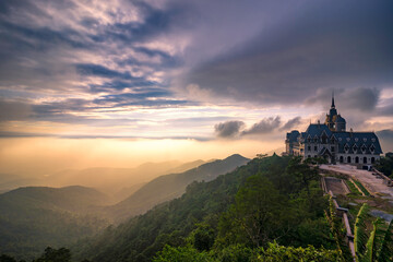 Castle in Tam Dao Moutains in sunset