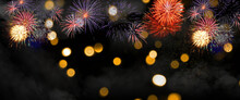 Fireworks To Celebrate Happy New Year. Happy New Year 2021. Christmas And New Year Holidays Background, Winter Season.