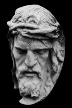 Very Ancient Partially Broken Stone Statue Of Jesus Christ Crown Of Thorns.