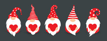 Cute Gnomes In Red Hats, Flat Cartoon Style Vector Isolated Icons. Little Gnomes With Big Beard And Red Heart, Funny Characters For Decorating Postcard Or Valentines