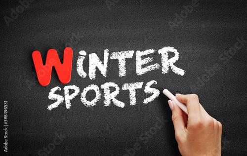 Winter sports text on blackboard, concept background Fototapete