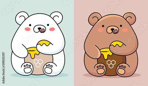Vector illustration of two cute happy bear eating honey from paw on color background #398503397