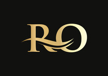 RO Logo Design For Business And Company Identity. Creative RO Letter With Luxury Concept. Water Wave RO Logo Vector.