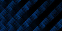 Bright Navy Blue Black Dynamic Abstract Halftone Pattern Vector Background With Diagonal Lines. Trendy Classic Color Of 2021. 3d Cover Of Business Presentation Banner. Fast Moving Soft Shadow Dots
