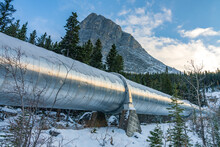 Big Pipeline In Grassi Lakes Hiking Trail Connects Whitemans Pond And Rundle Forebay. Hydro Power System In Canmore, Alberta, Canada.