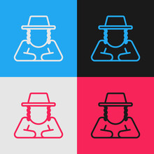 Pop Art Line Orthodox Jewish Hat With Sidelocks Icon Isolated On Color Background. Jewish Men In The Traditional Clothing. Judaism Symbols.  Vector.