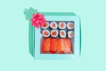 Studio Shot Of Gift Box With Maki Sushi And Nigiri