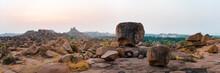 Scenic View Of Rocky Land During Sunrise, Karnataka, Hampi, India