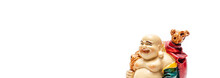 Happy Laughing Buddha Statue On White Background .