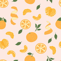 Tangerines cute seamless pattern. Trendy hand drawn vector stylised whole fruit, leaves, slices, peel fruits. Repeated citrus on light background. Design for web banner, wrapping, Christmas print
