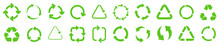 Biodegradable, Compostable, Recyclable Icon Set. Set Of Green Arrow Recycle. Mega Set Of Recycle Icon. Green Recycling And Rotation Arrow Icon Pack.Vector Illustration