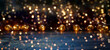 Christmas background - golden fairy lights, rustic Christmas decoration