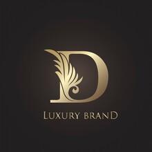 Luxury Letter D Logo Gold Monogram Feather Decorative Ornate Ornament Vector Design