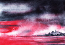 Gloomy Watercolor Landscape. Dramatic Black And Crimson Sky With Thunderclouds, Purple Water And Blurred Silhouettes Of City On Distant Island Among Endless Sea. Hand Drawn Illustration Of Doomsday
