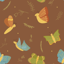 Brown Vector Seamless Pattern With Butterflies. Hand Drawn Ornament For Fabrics, Linen, Wrapping Paper And Other Surface Designs. Tender Colors And Cute Elements For Your Design