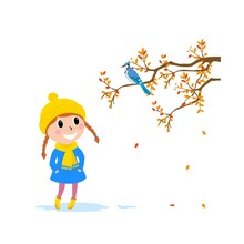 Vector Illustration Baby In Coat And Hat Walking In Autumn Forest, Little Girl See Bird On Branch, Cartoon Design.