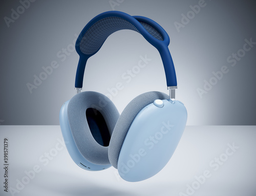 Carta da parati Realisitc 3D Rendering of a new Apple AirPods MAX Blue headphones, noise cancellation technology, better sound