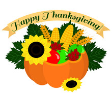 Happy Thanksgiving Illustration With Pumpkin, Apples, Sunflower, Corns And Cranberries On White Background. Isolated Decorative Nature Vector Illustration