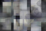 Abstract geometric background with rectangles of gray, yellow shades and gray leaves