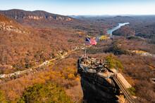Chimney Rock At Chimney Rock State Park And Lake Lure, North Carolina,USA In Fall Season.
