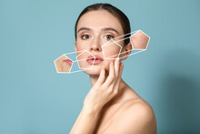 Young Woman With Problem Skin On Color Background