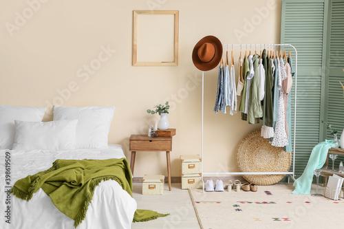 Fototapeta Interior of modern bedroom with wardrobe obraz