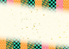 市松・亀甲・鱗・麻の葉和柄和紙背景素材