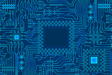 Blue Gradient Micro Electronics Circuits Board Background