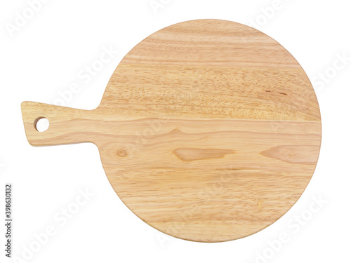 Fotografie, Obraz Top view of round wooden cutting board isolated on white background