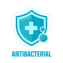 Green Protective Shield With A Plus Sign In The Middle. Concept Of Protection From Virus